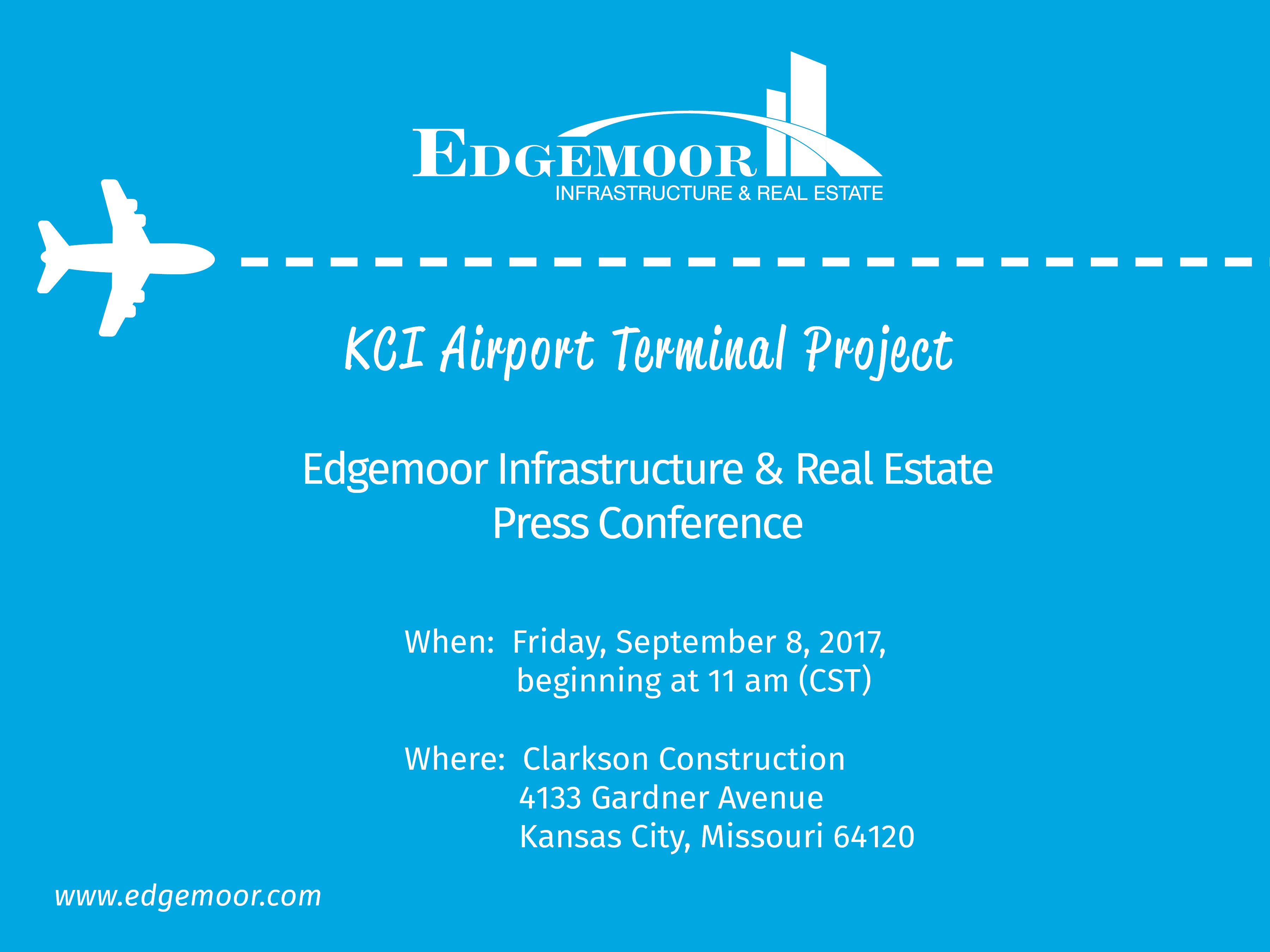 Edgemoor Infrastructure & Real Estate will be holding a KCI Terminal Project press conference on Friday, Sept. 8, 2017, beginning at 11 am (CST)