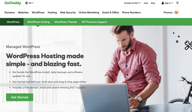GoDaddy homepage screenshot