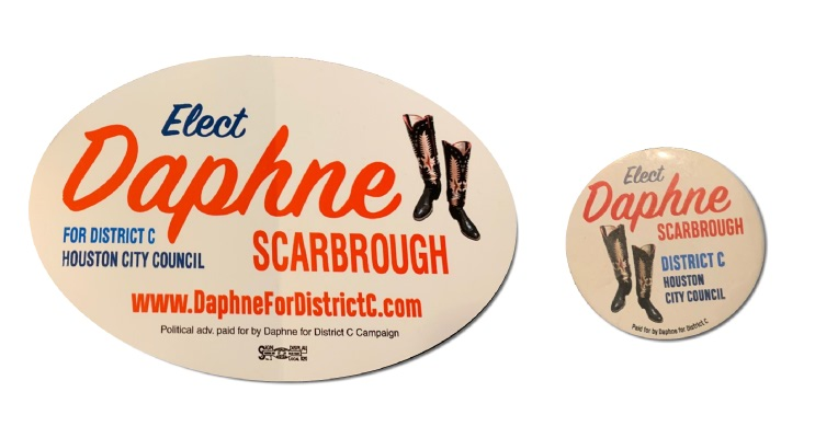 "Donate $20 and receive your own ""Daphne for District C"" Pin and Sticker"