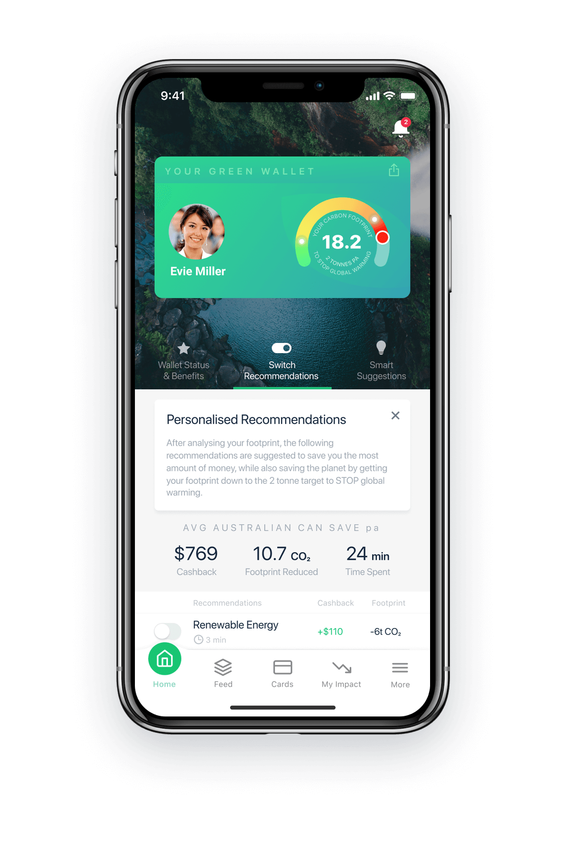 Green Wallet Phone App Recommendations  demo screen