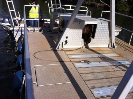 flat deck barge, moon pool, winch , 1 tonne crane