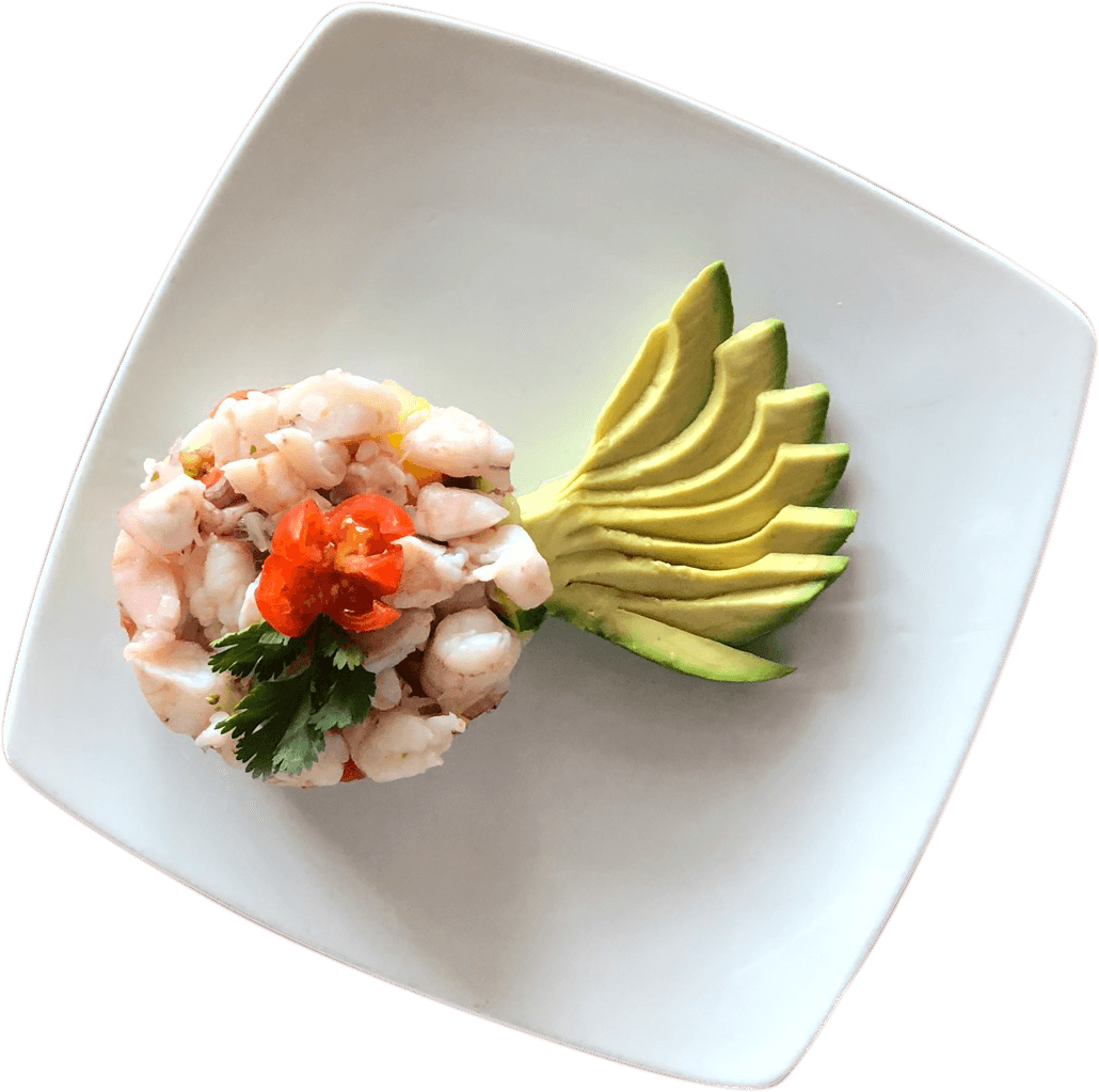 La Carreta's ceviche with shrimp and avocado on a plate.