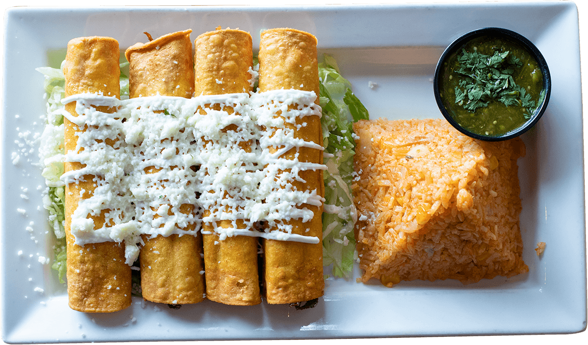 La Carreta's flautas with cheese, rice and salsa verde on a plate.