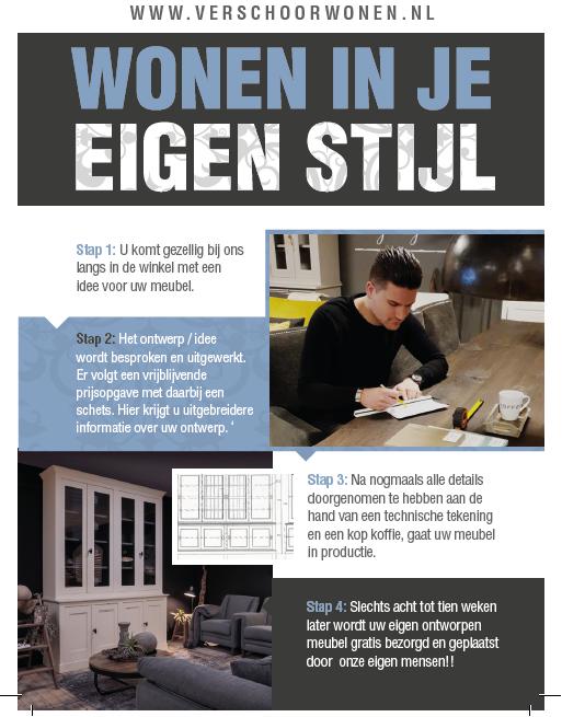 Maatwerk stappenplan Verschoor Wonen. Van Ontwerp tot plaatsen van de meubels.