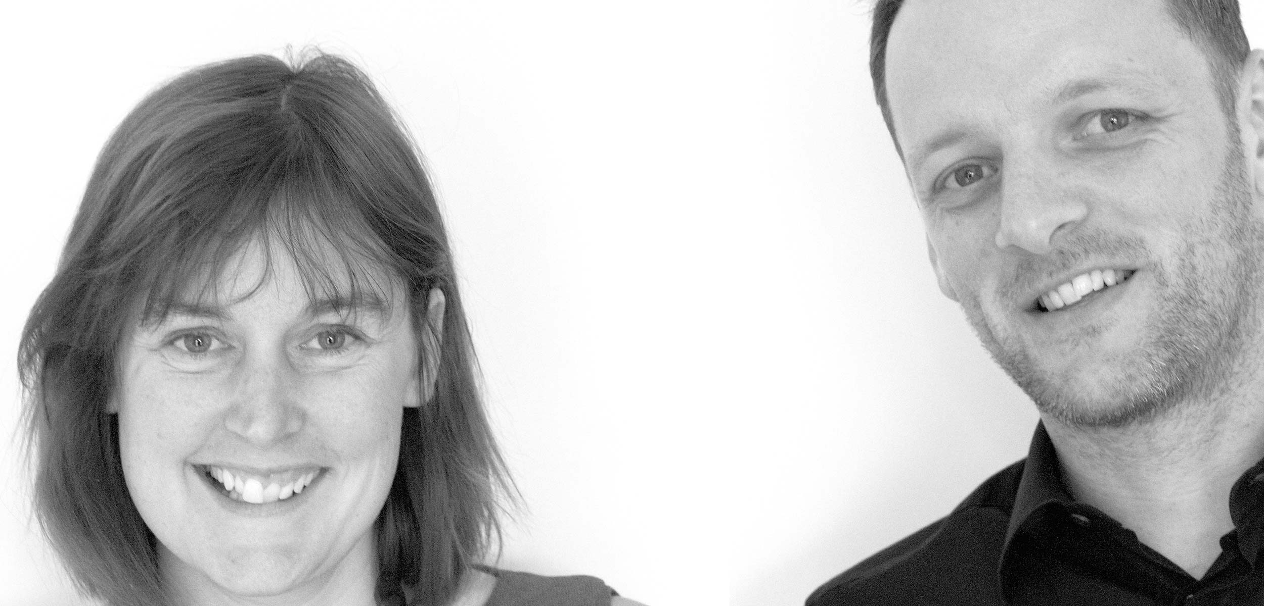 black and white photo of directors Cal Williamson and Paul Kitchin from WK Design Architects in Cumbria