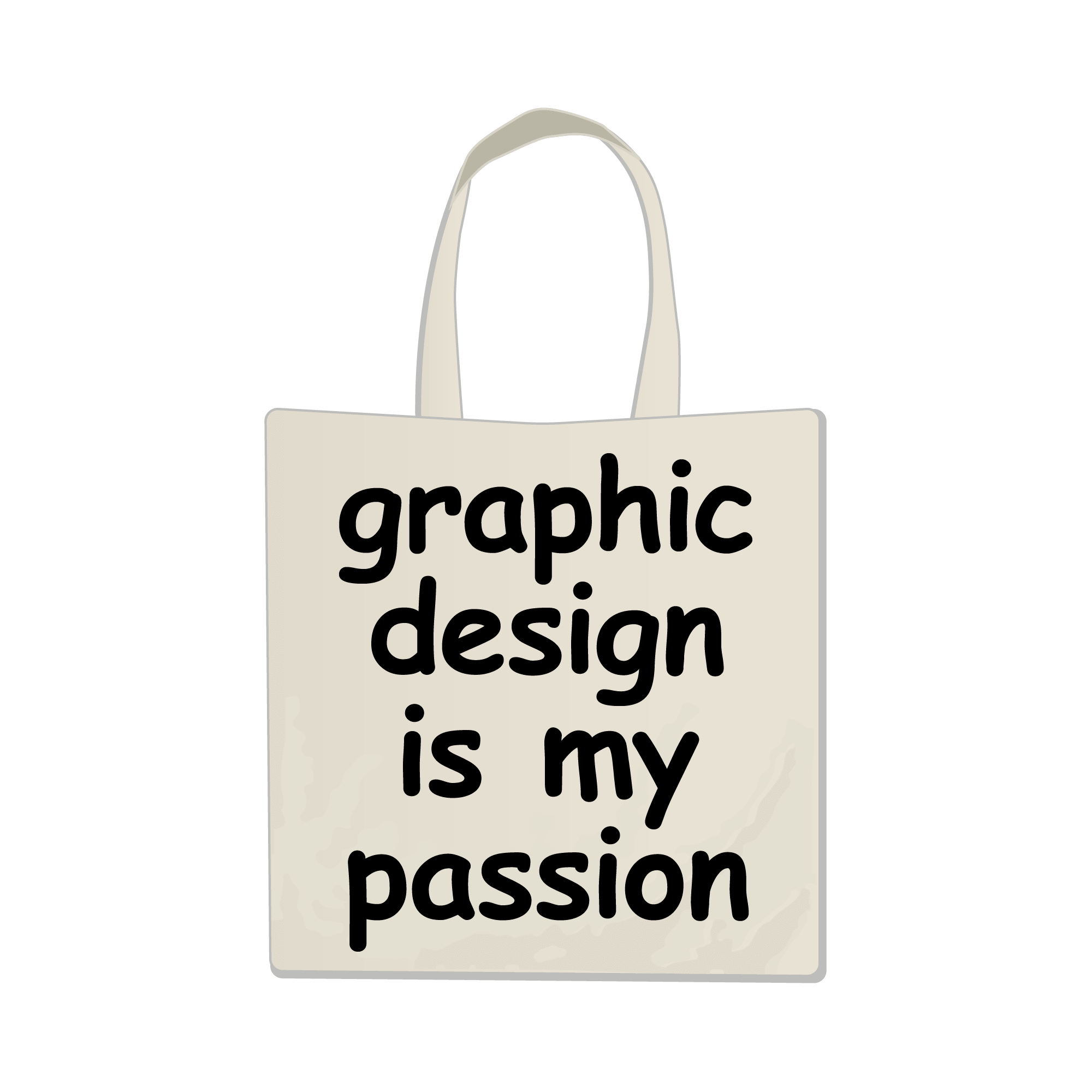 An emoji of a white tote bag with the words 'Graphic design is my passion' on it in Comic Sans font.