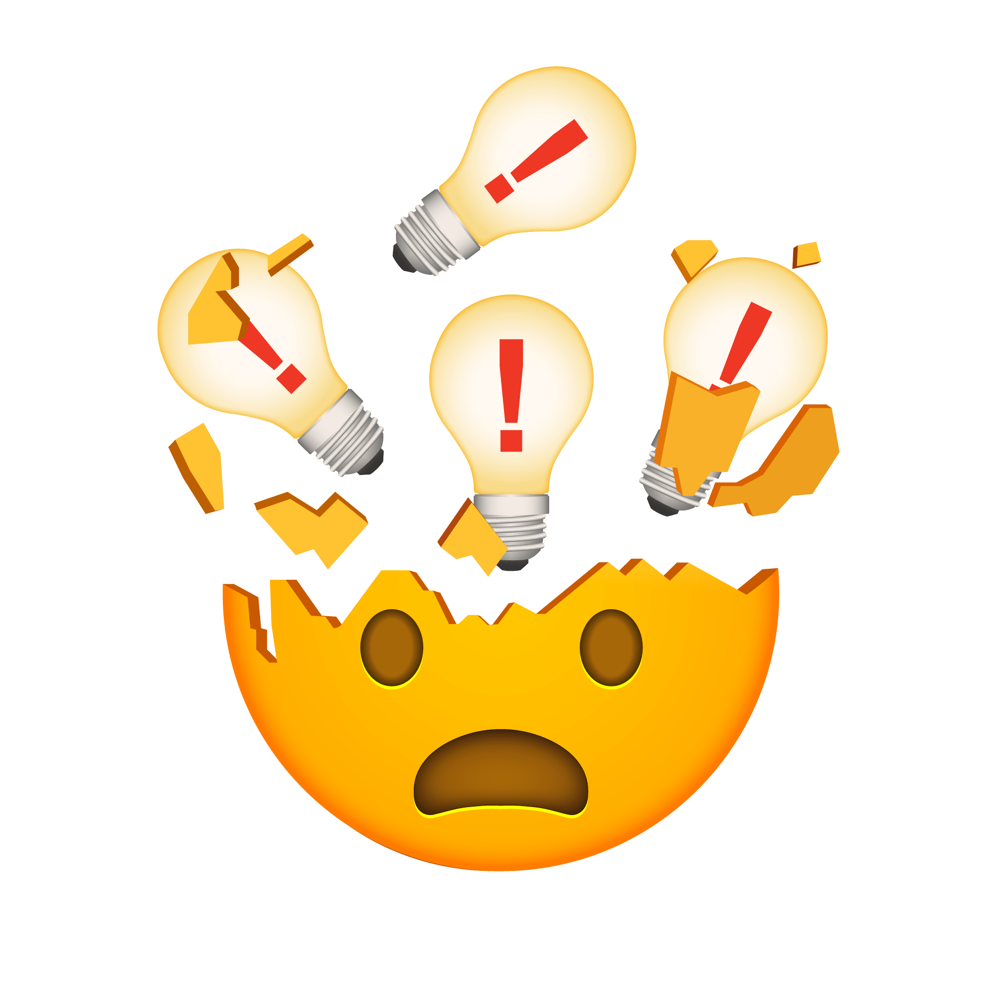 An emoji of a mind-blown face with lightbulbs over it.