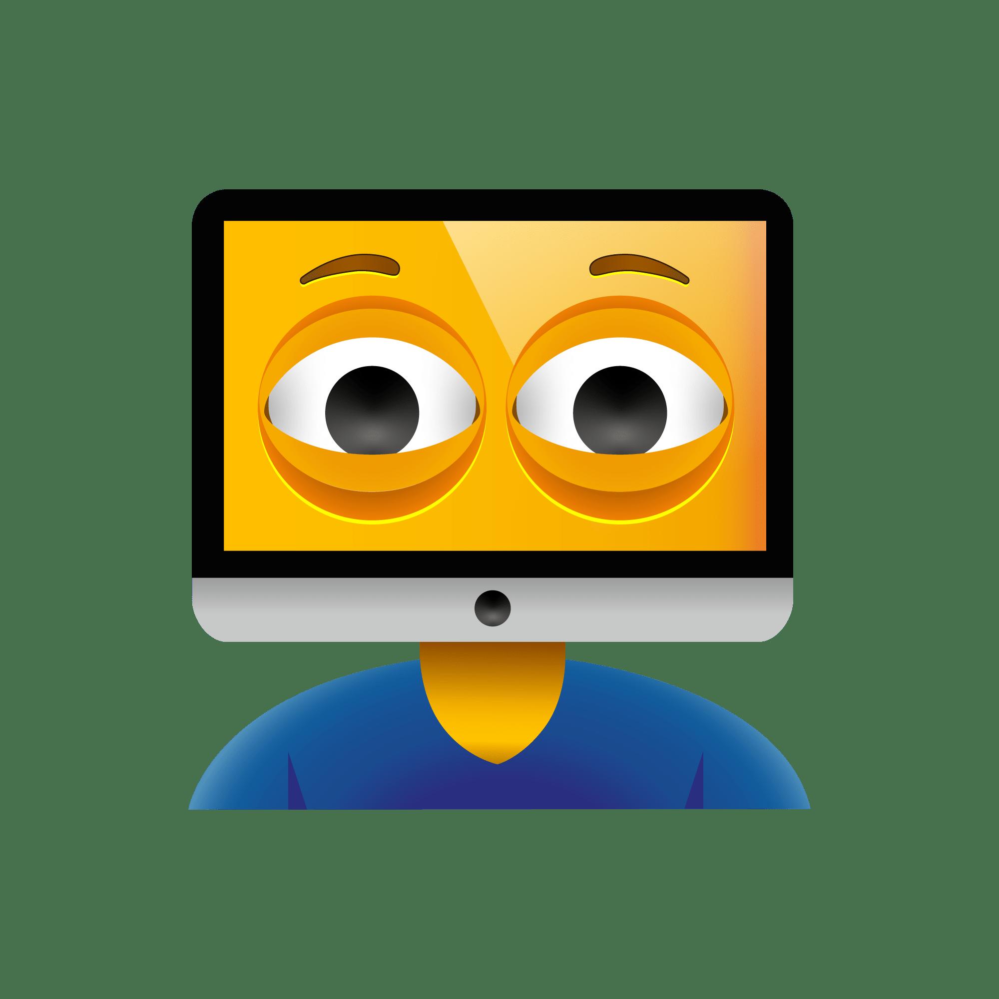 An emoji of a man whose head is a computer.