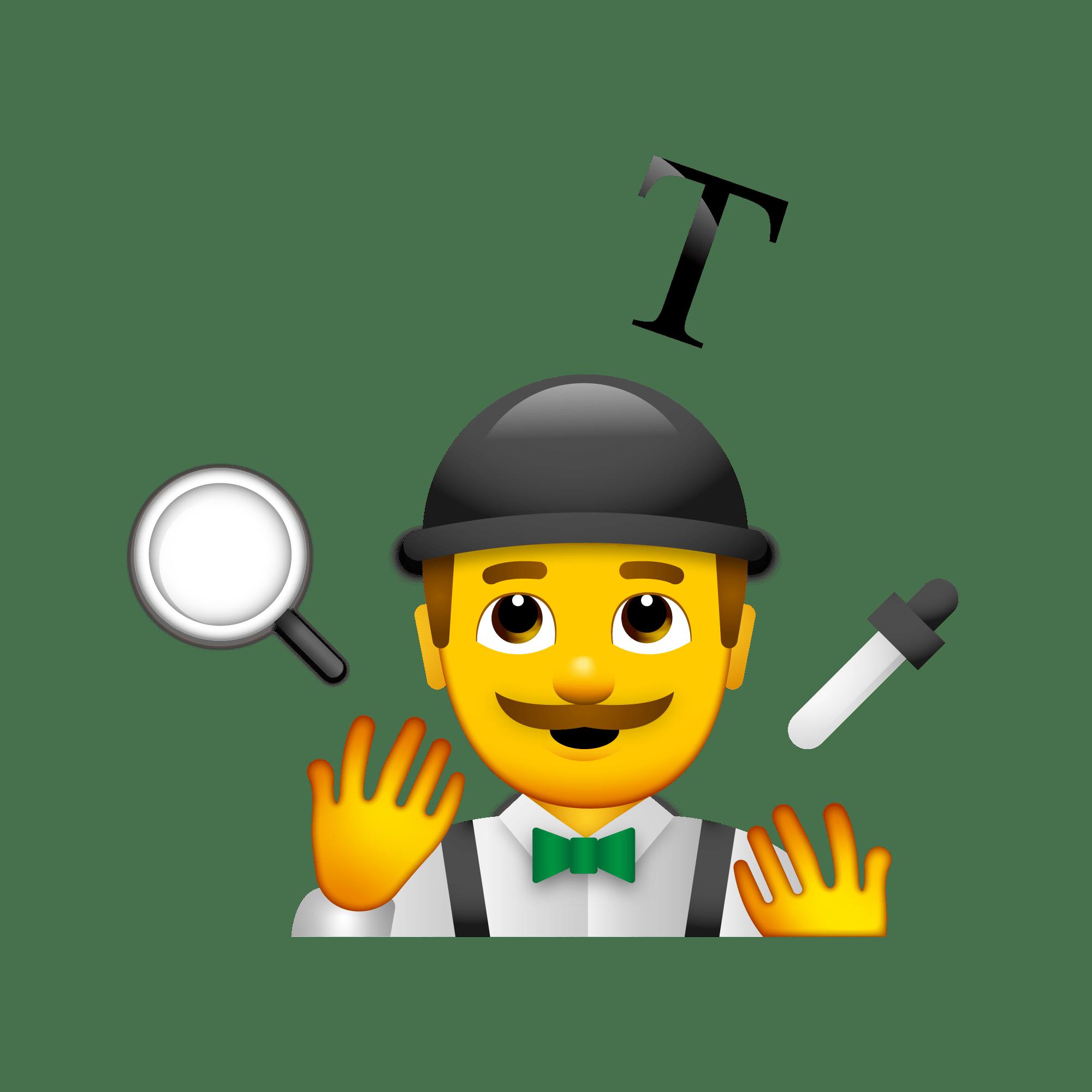 An emoji of a circus performer juggling design tools.