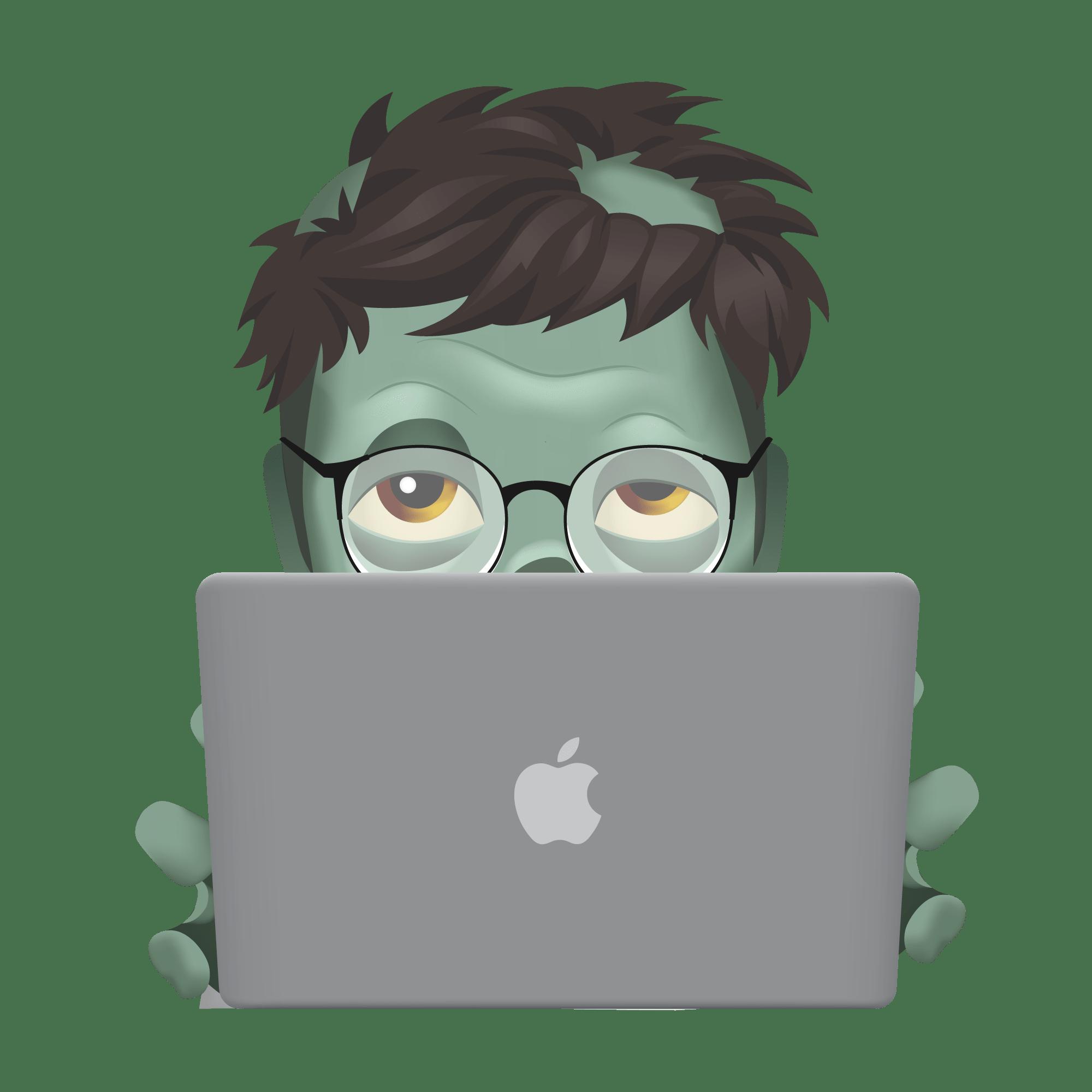 An emoji of a Zombie using a Macbook.