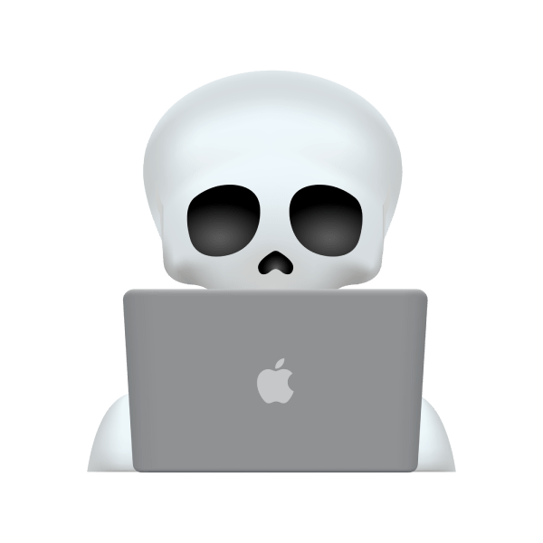 An emoji of a skeleton looking at a laptop.