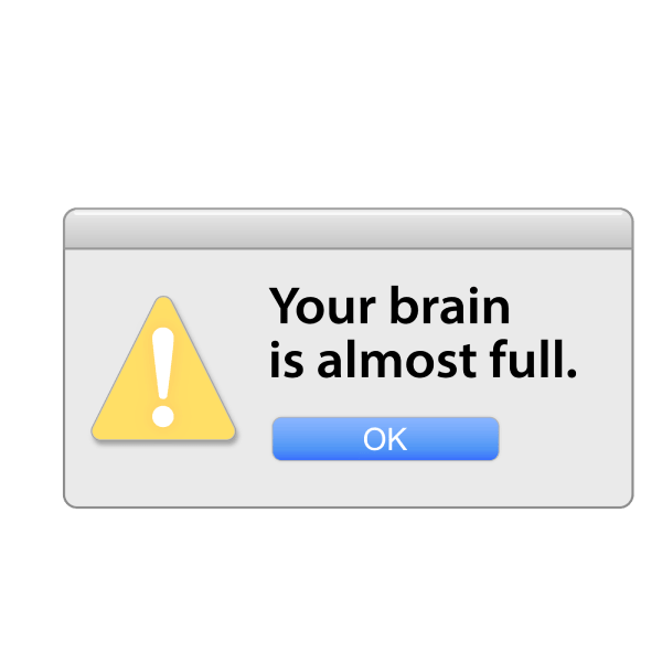 """An emoji of an alert that says """"Your brain is almost full."""""""