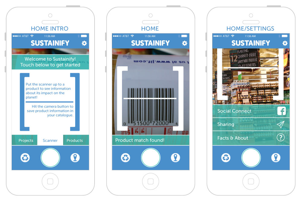 First set of Sustainify Screens, featuring the Homepage in various stages.