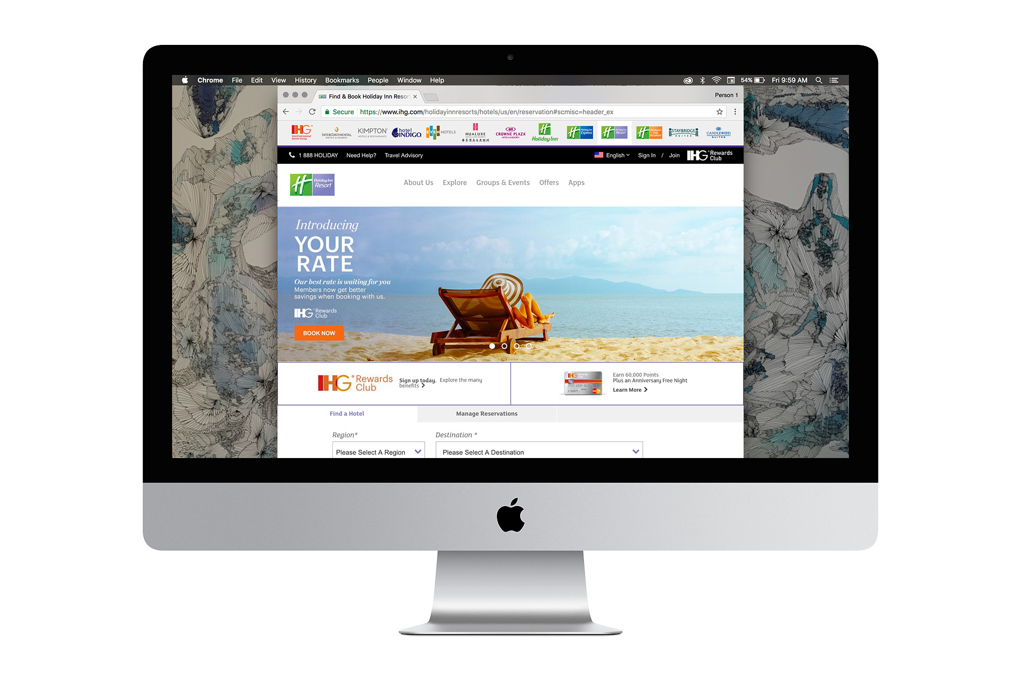The homepage image for Holiday Inn Resorts, featuring a woman sunbathing alone on a wooden chair by the beach.