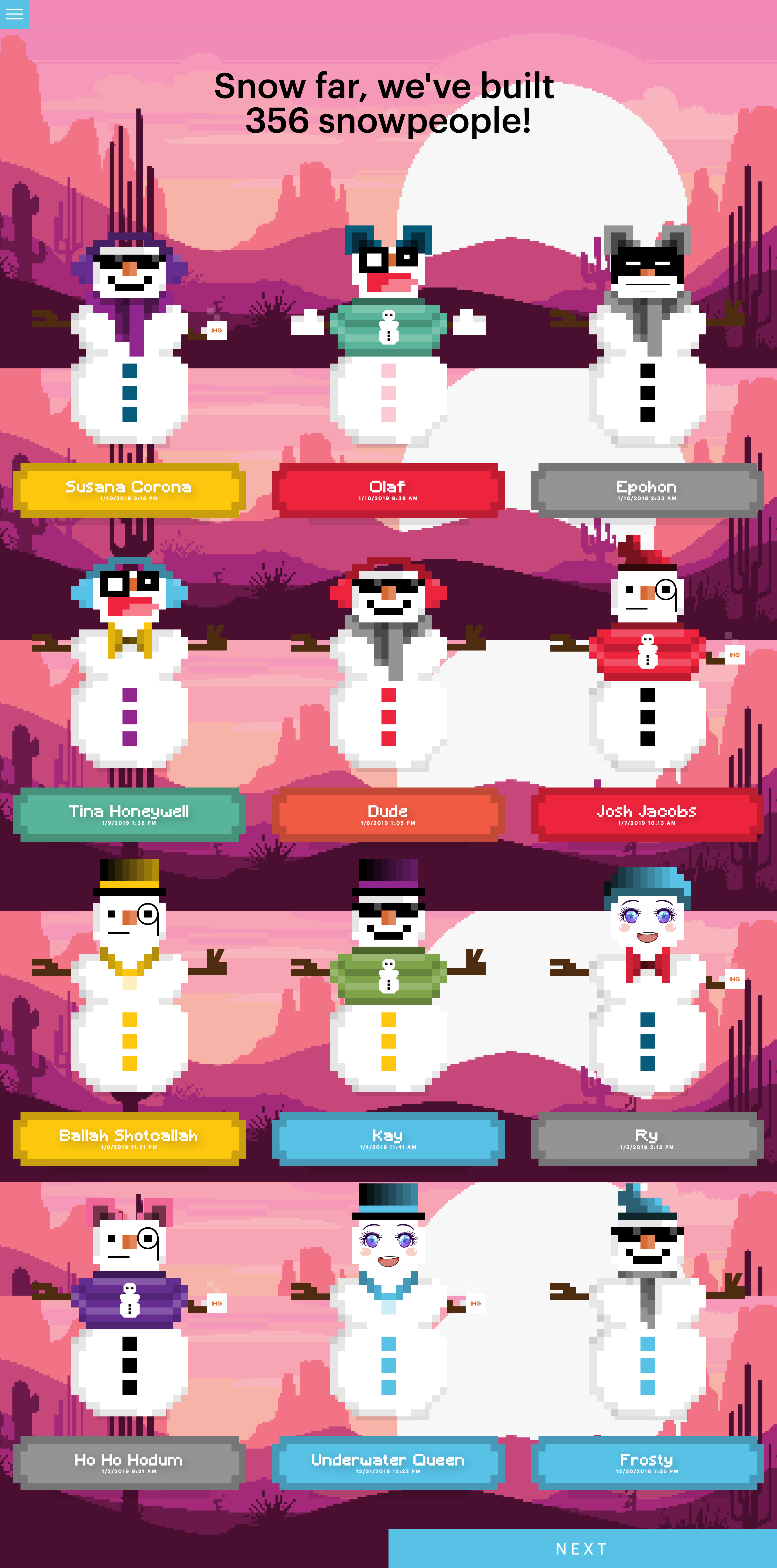 "Snowperson Builder ""All Snowpeople"" page"