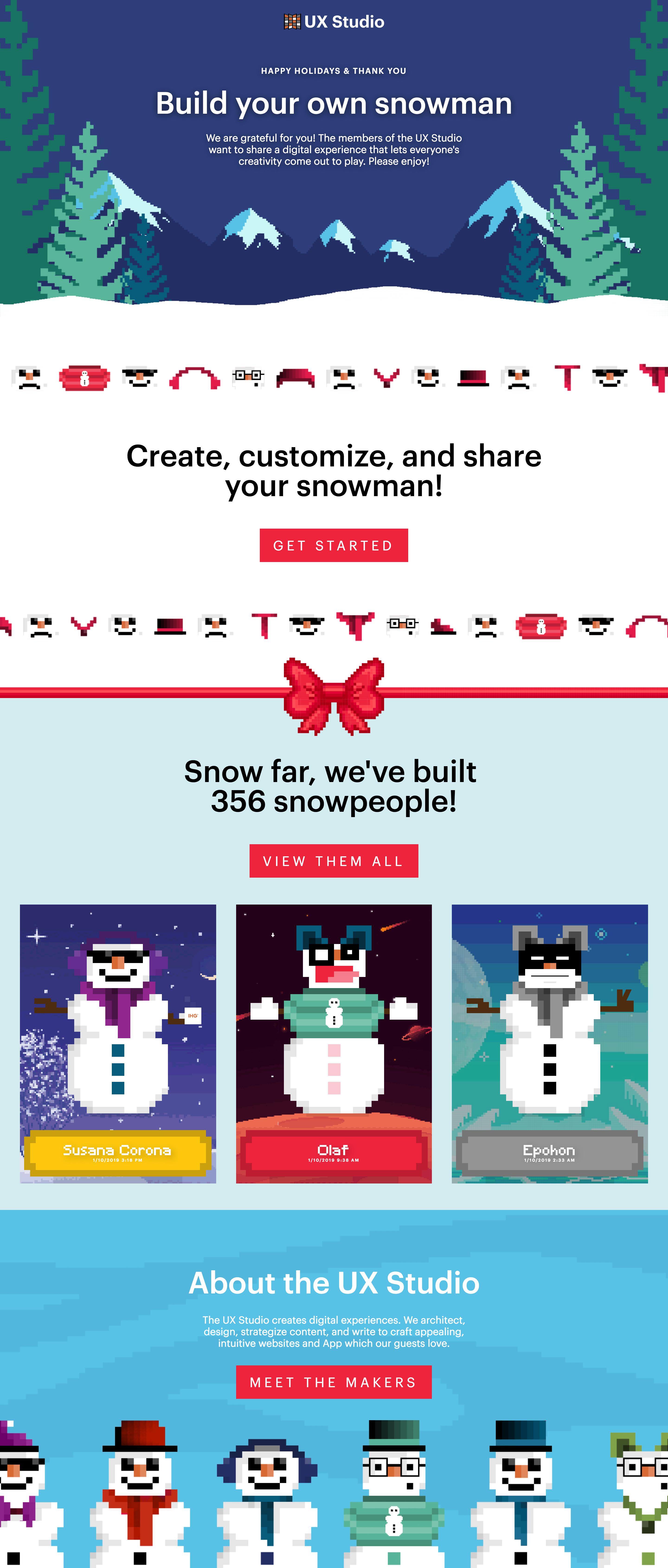 Snowperson Builder - UX Project - UX/Web Design Portfolio of