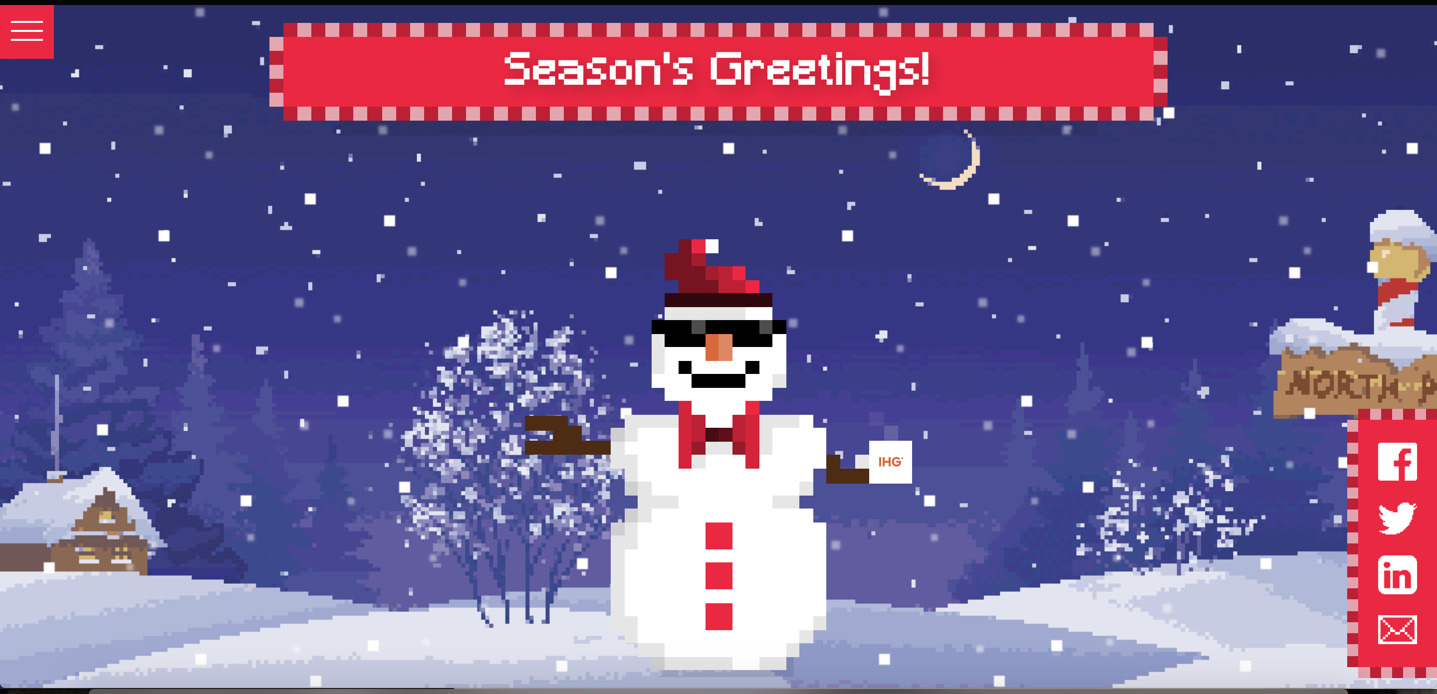 "A screenshot of the snowperson page that the user lands on when they are finished in the builder. Above the snowman is a flashing pixelated marquee which reads ""Season's Greetings!"""