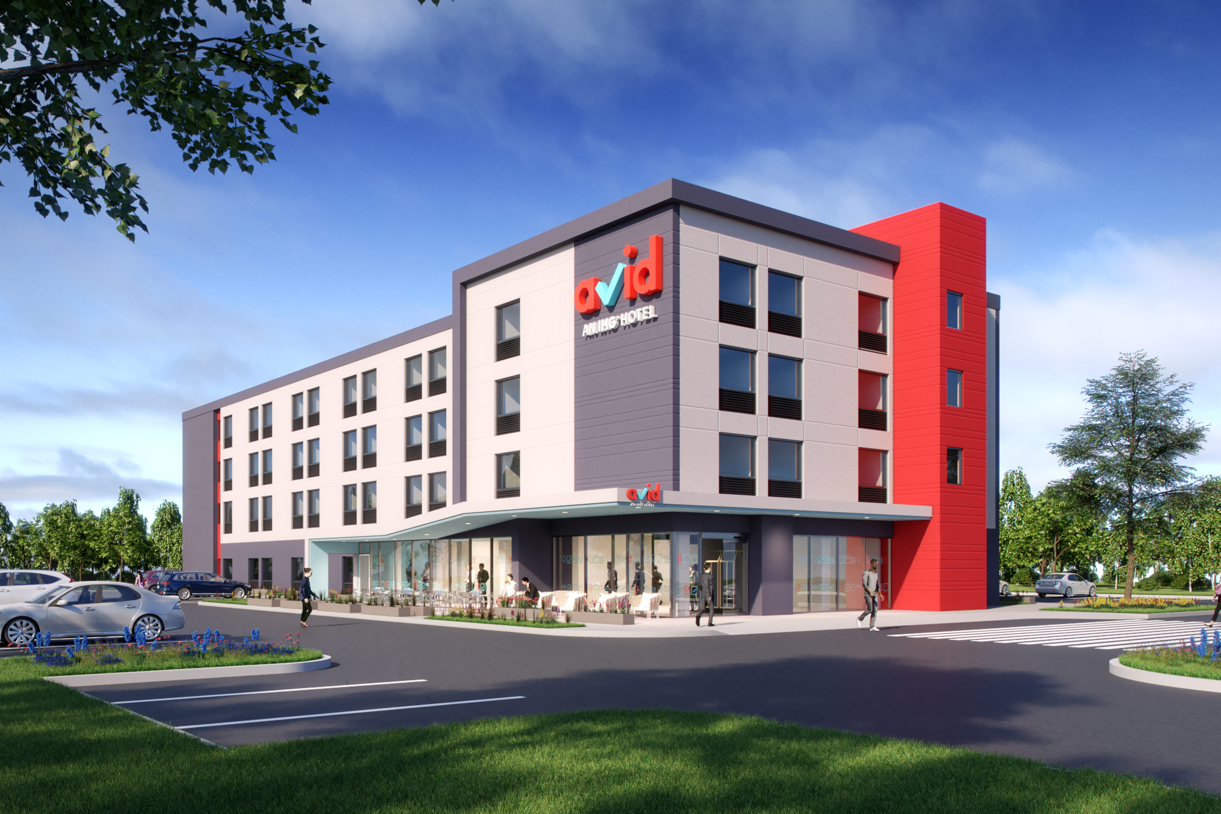 A render of the exterior of the avid Oklahoma City property, the first avid hotel. It's very modern, with red accents on the outside and a large red avid logo on the front.