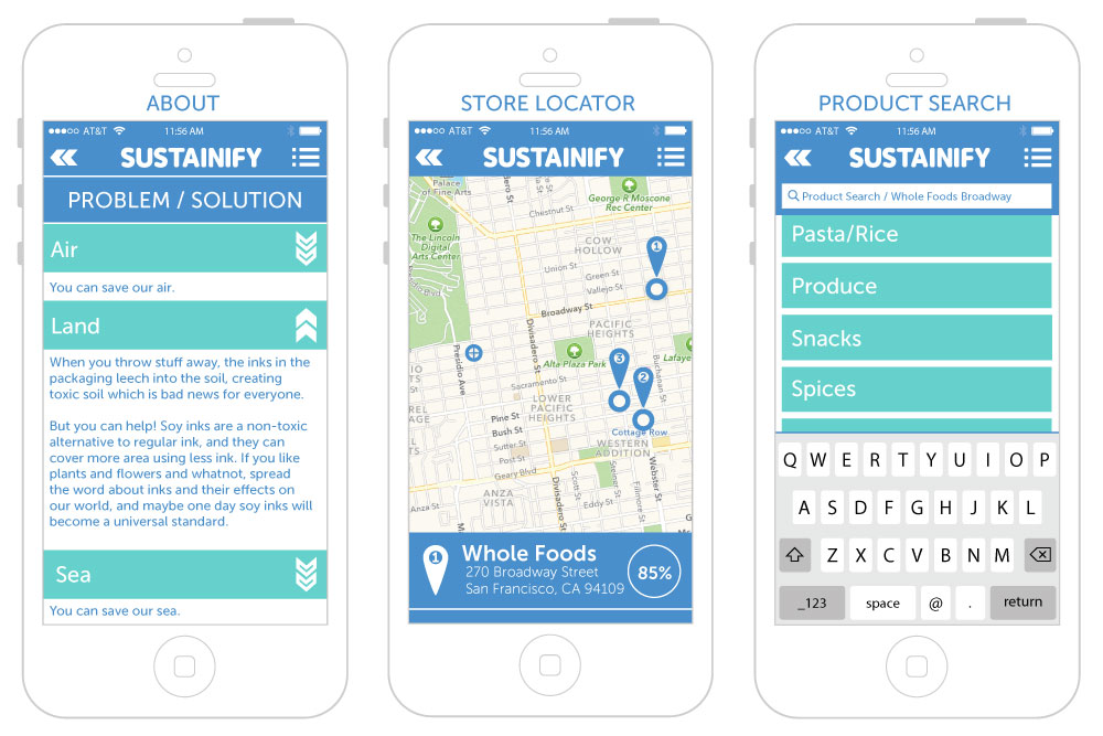 Sustainify screens for About, Store Locator, & Product Search