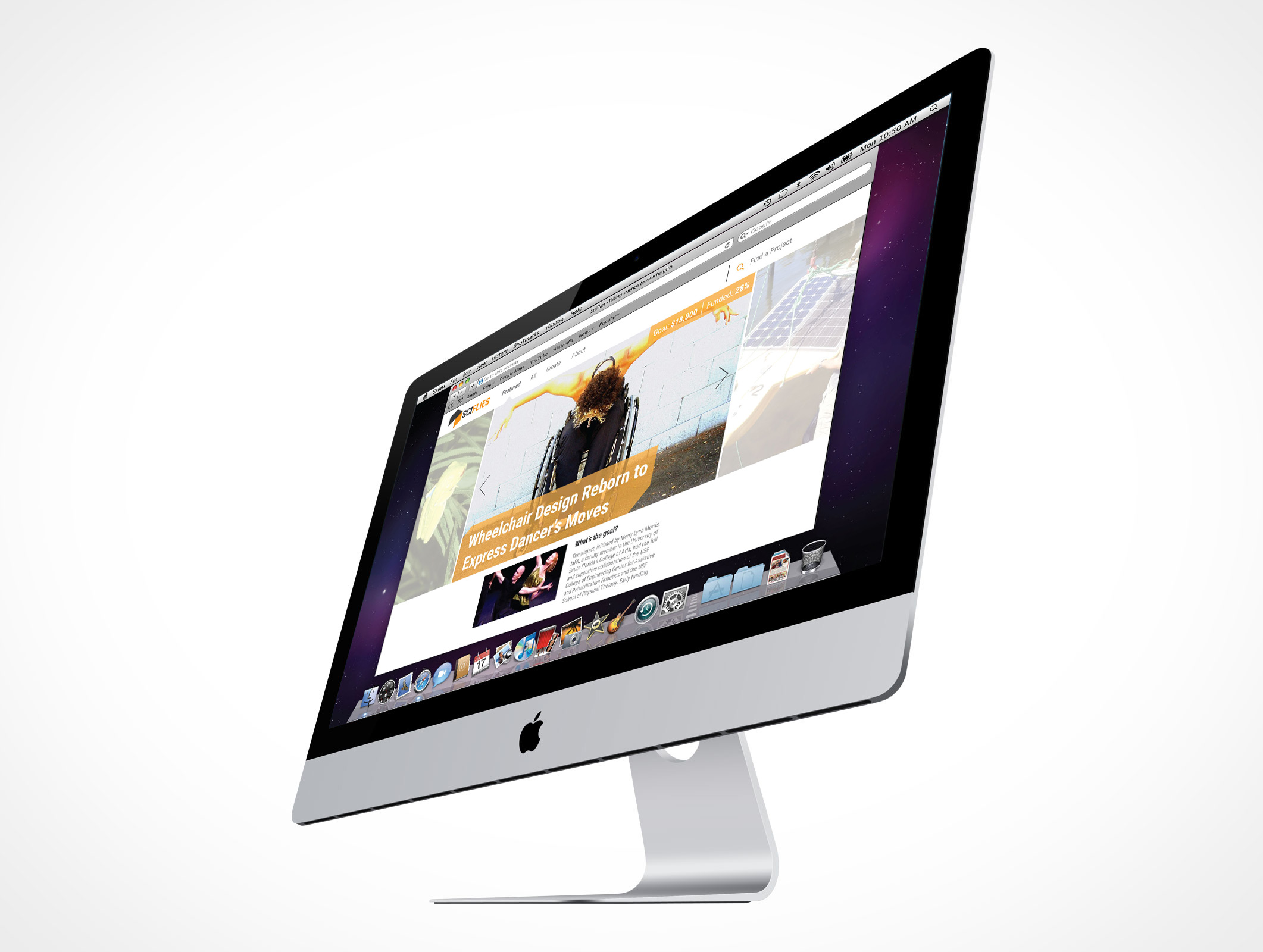 An image of a person dancing in a wheelchair, as mocked up on a website on the screen of a Macbook Pro.