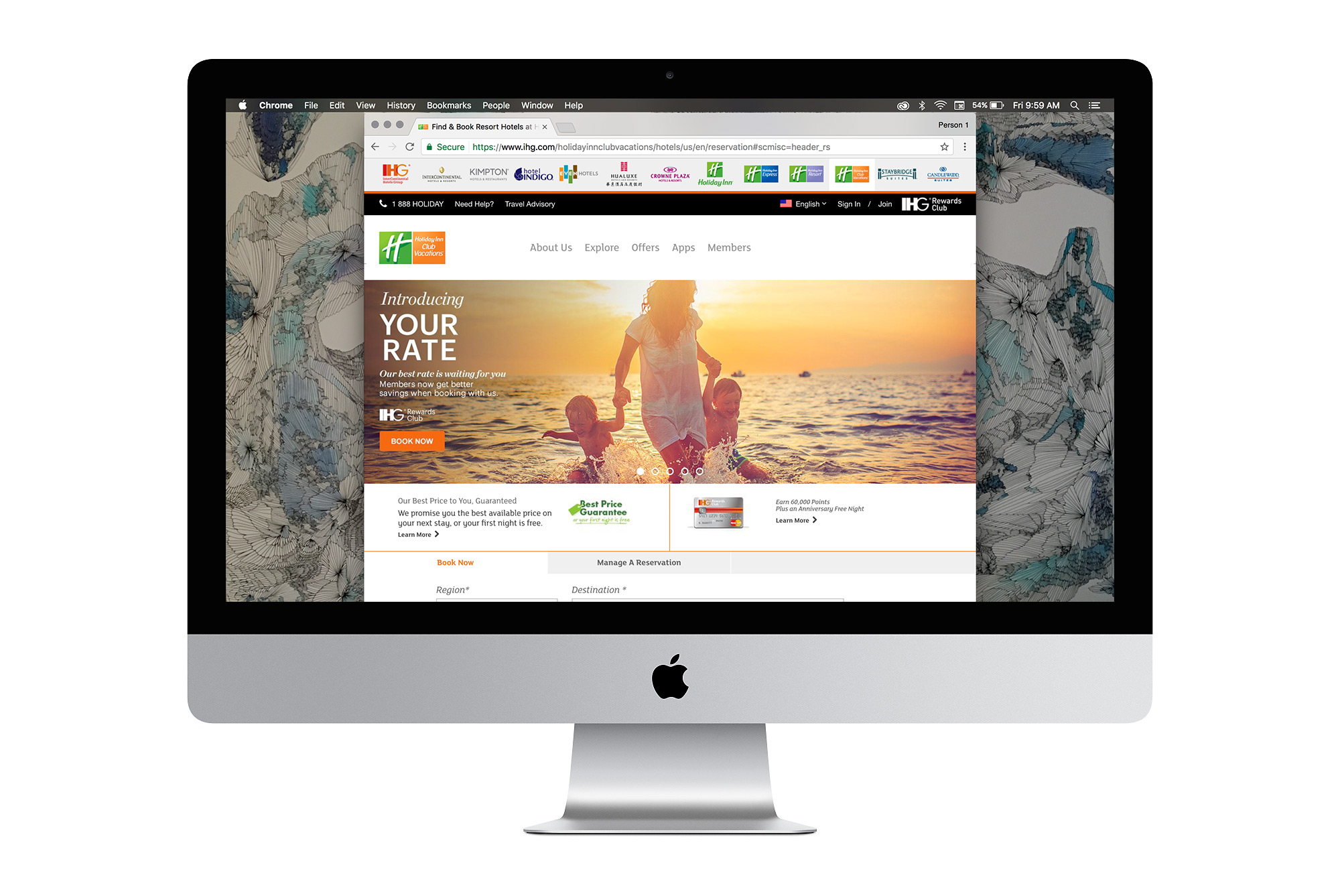 The homepage image for Holiday Inn Resorts, featuring a mom and two kids running through the waves on a beach.