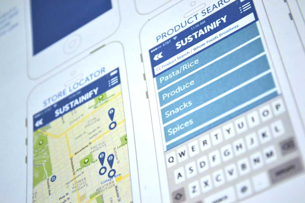 Screens from the Sustainify app Map page and Product Types Page, featuring Blue hues and Mint greens.