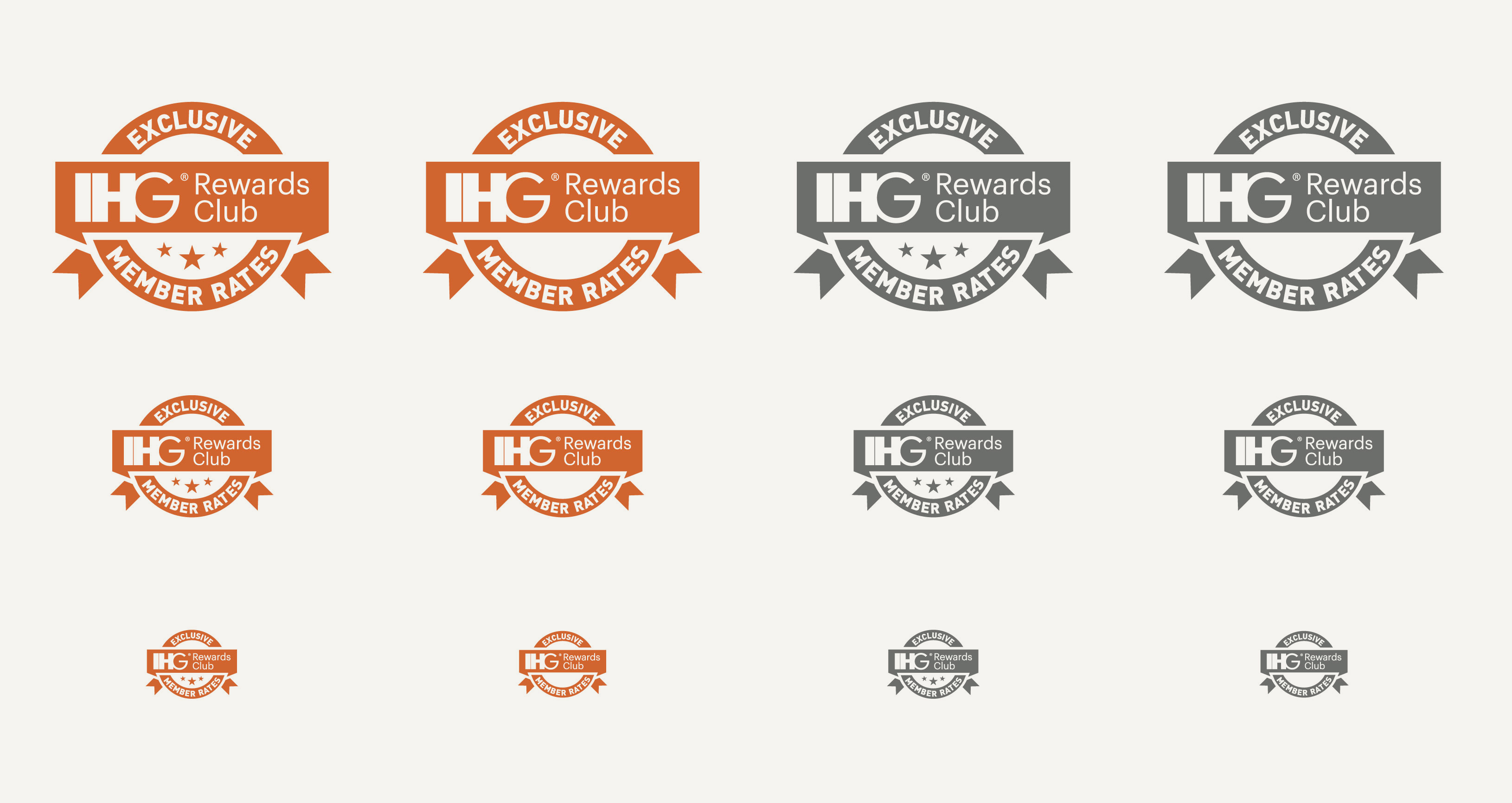 """Initial iterations of the logo I made for """"Your Rate"""". Each of them are round badges, some with a ribbon on it that says """"IHG Rewards Club"""" on it, while otehrs have stars. Some are orange, and others are grey."""