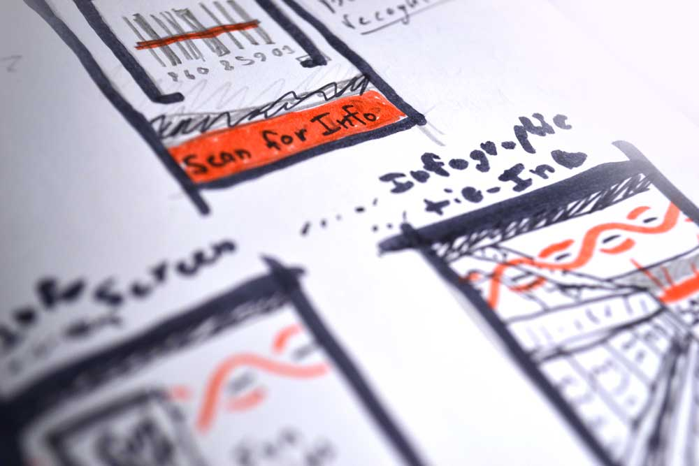 Conceptual sketches done for the app's barcode scanner, done in black ink with red marker accents