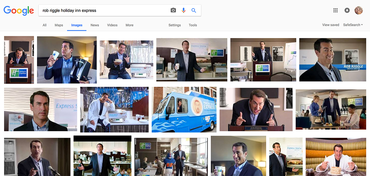 Photos of actor Rob Riggle being a goofball, as seen in a Google Images search.