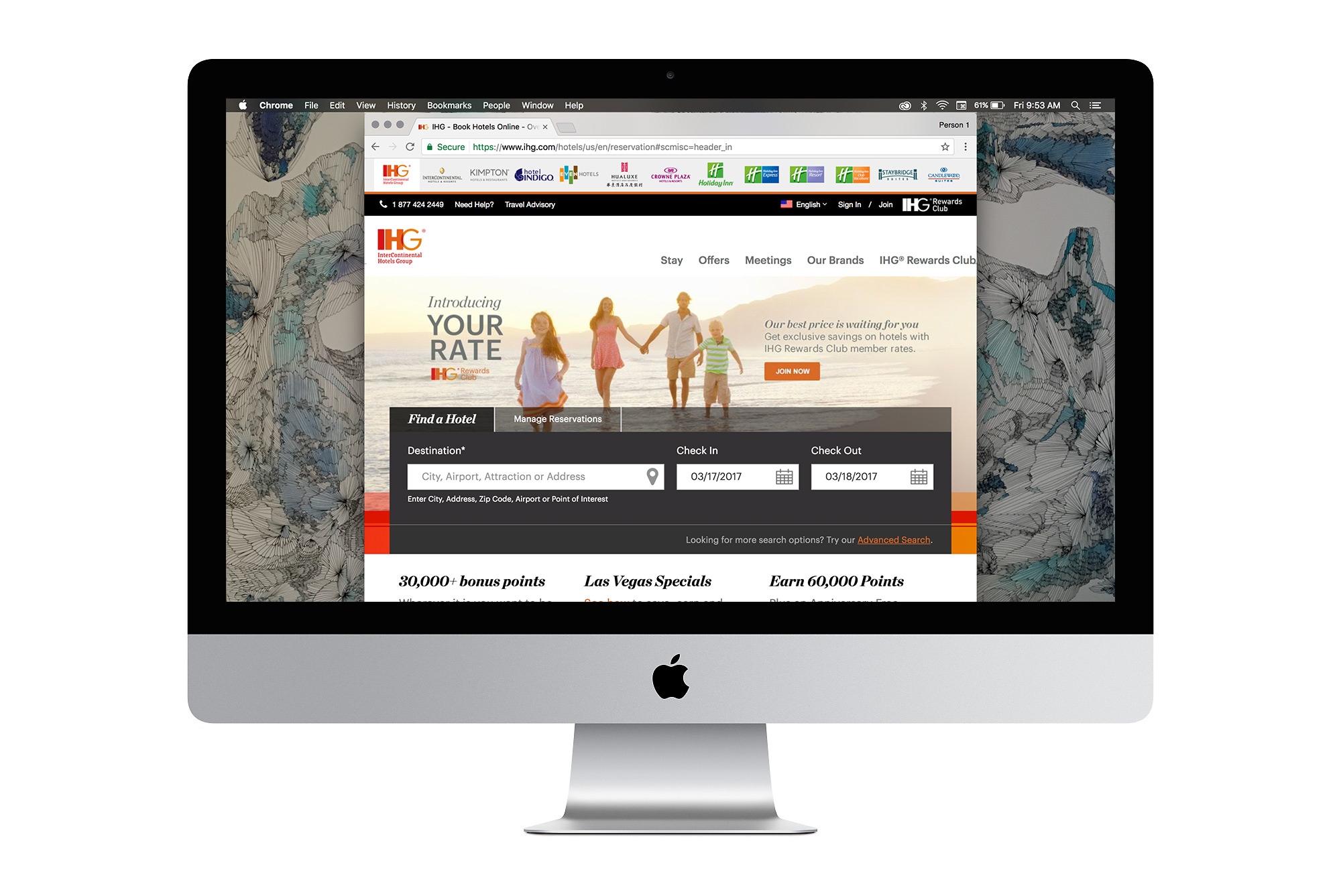 The homepage image for IHG, featuring a father, son, mother and daughter holding hands on an idyllic beach