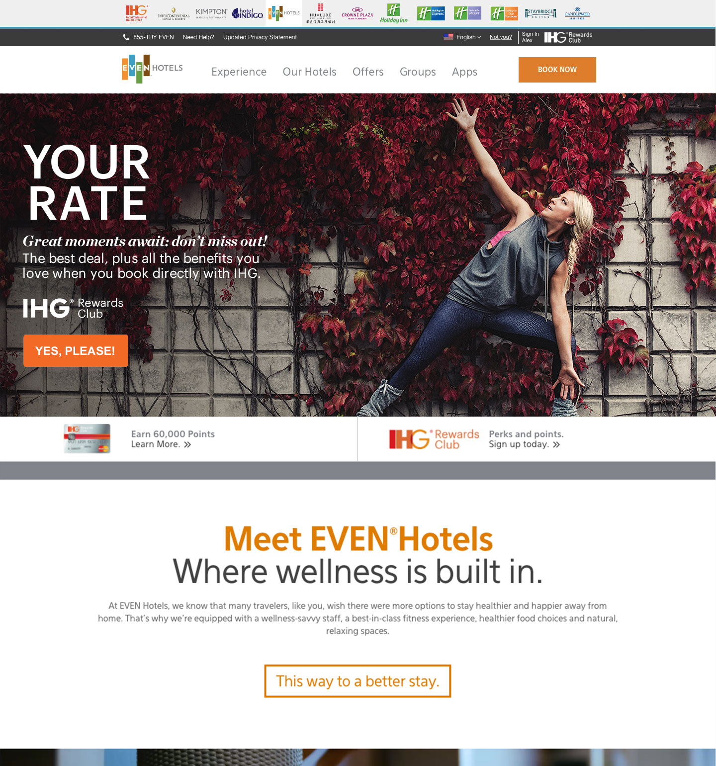 The EVEN hotels website homepage, featuring a photo of a woman doing yoga in front of a wall of magenta vines.On top of this image is some promotional copy