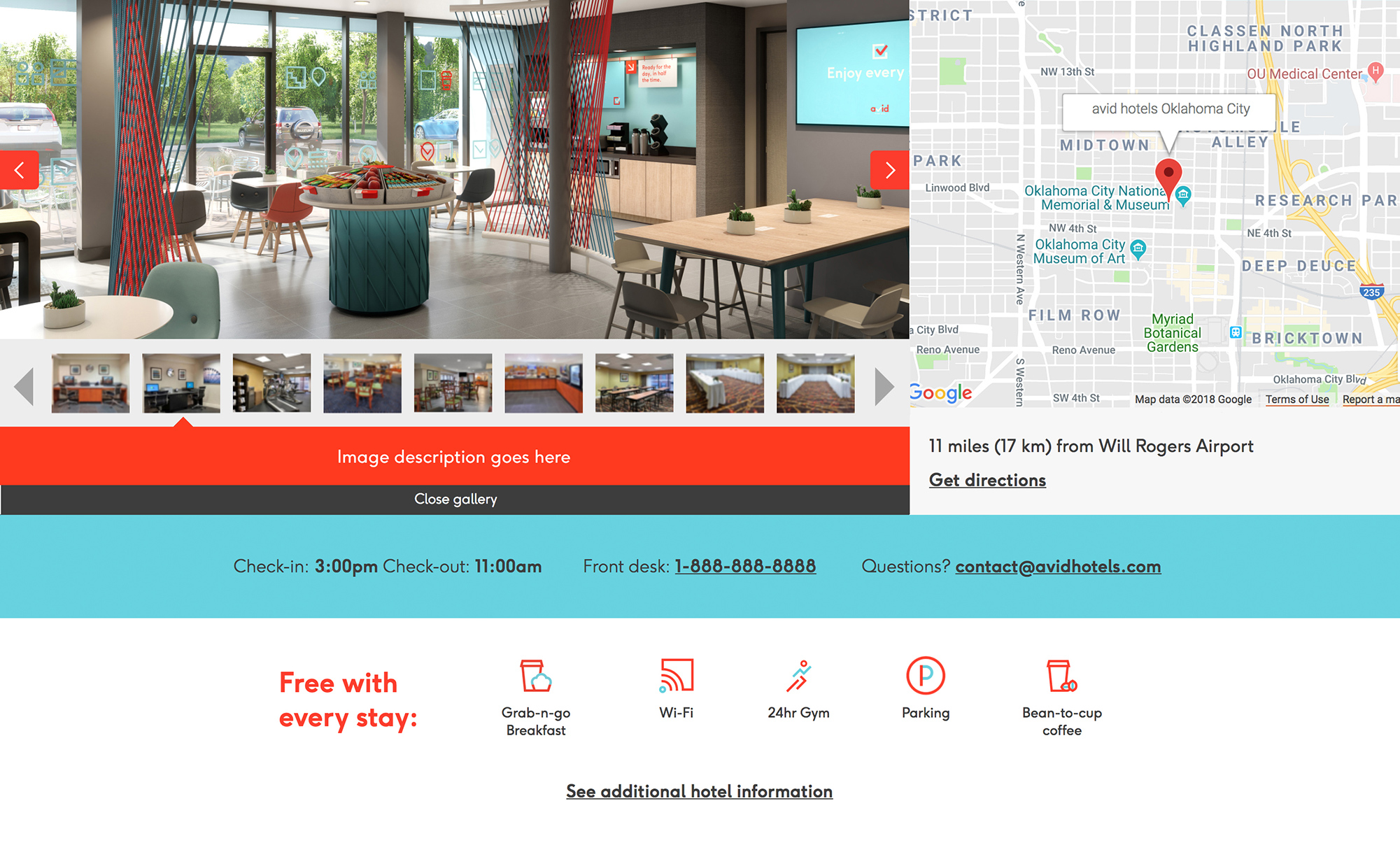 A screenshot of the hotel details page, on which is an image gallery for the hotel and other relevant hotel information. The page features rich red colors as well as a light blue.