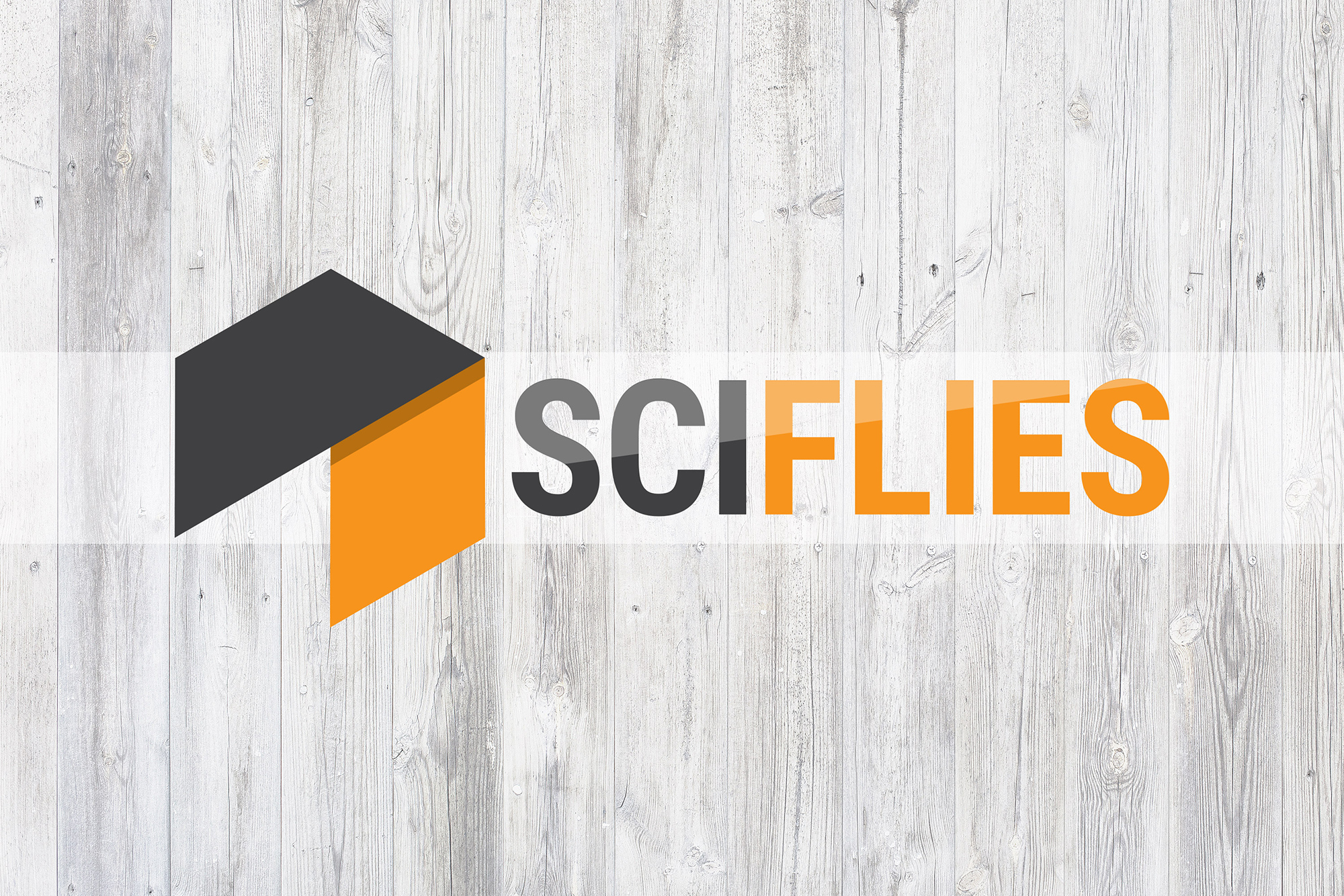 """The final logo, in bright orange and deep grey, with the word """"SCIFLIES"""" next to it in all caps. The logo is laid on top of a light wood background."""