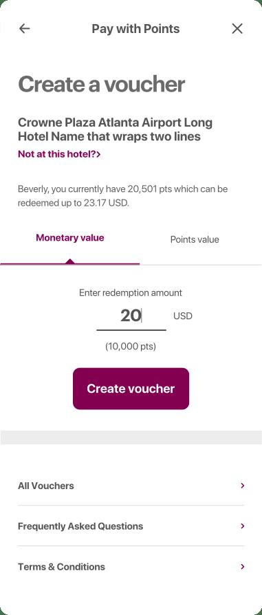 Voucher creation, money value