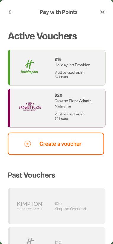 The vouchers homepage, default