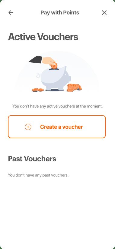 The vouchers homepage, no vouchers