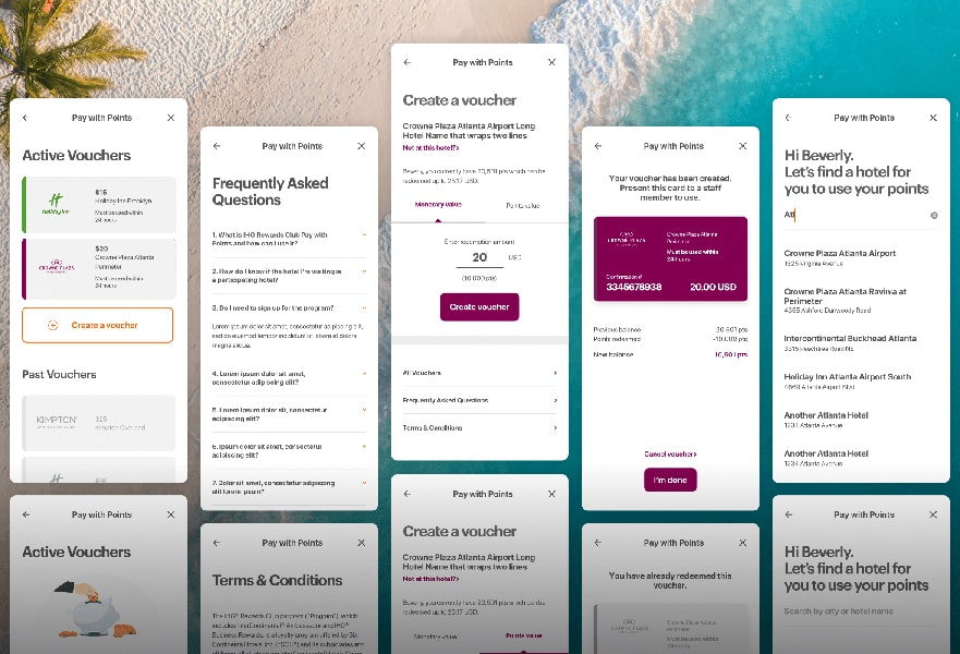A collection of modern, clean screens for a pay with points experience