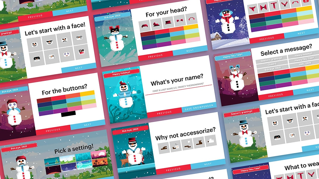 Many different, colorful options from the Snowperson builder I made showing off the potential of the project.