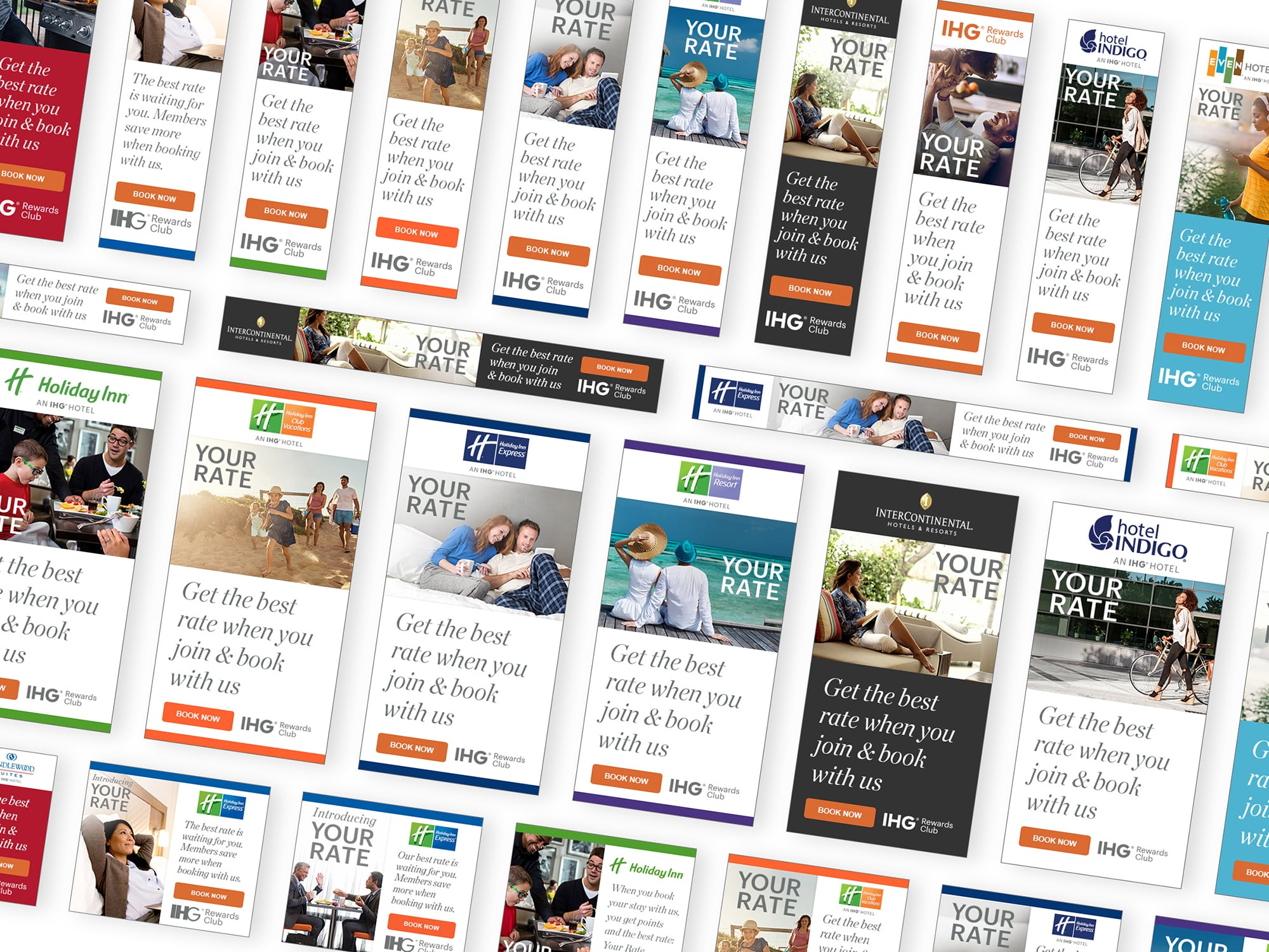 A compilation of banner ads for a campaign called 'Your Rate'