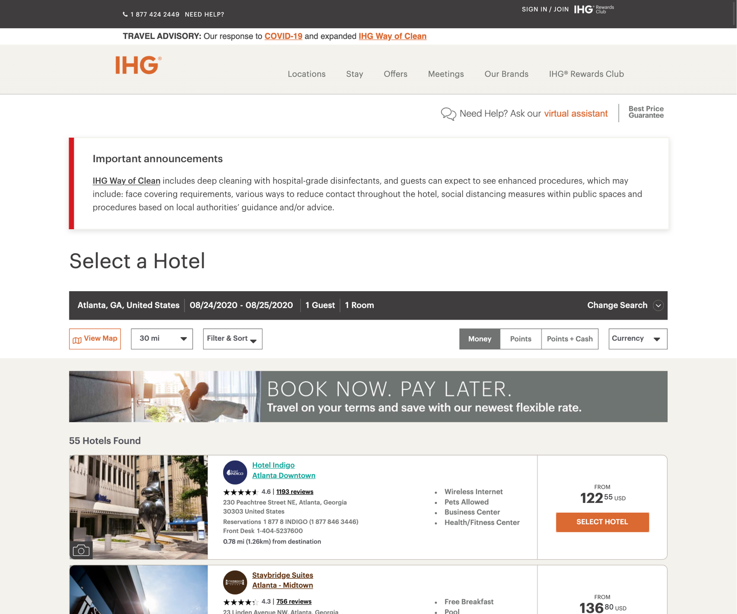 The old IHG Filter & Sort experience
