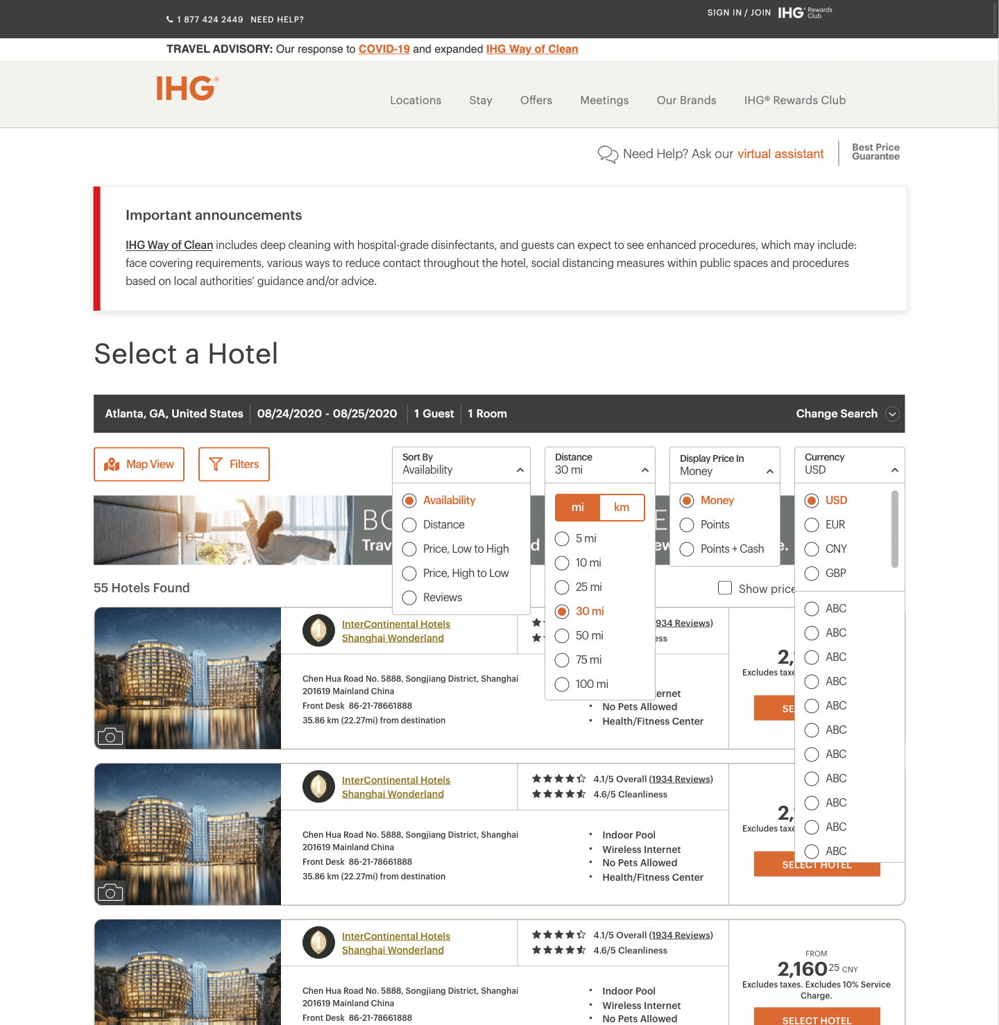 The desktop view of the new design, all dropdowns expanded.