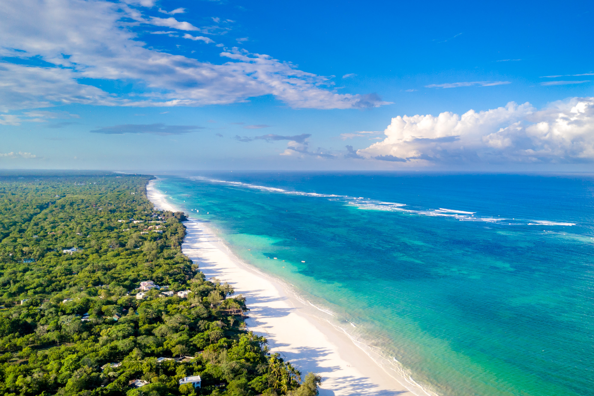 Aerial view of Diani Beach