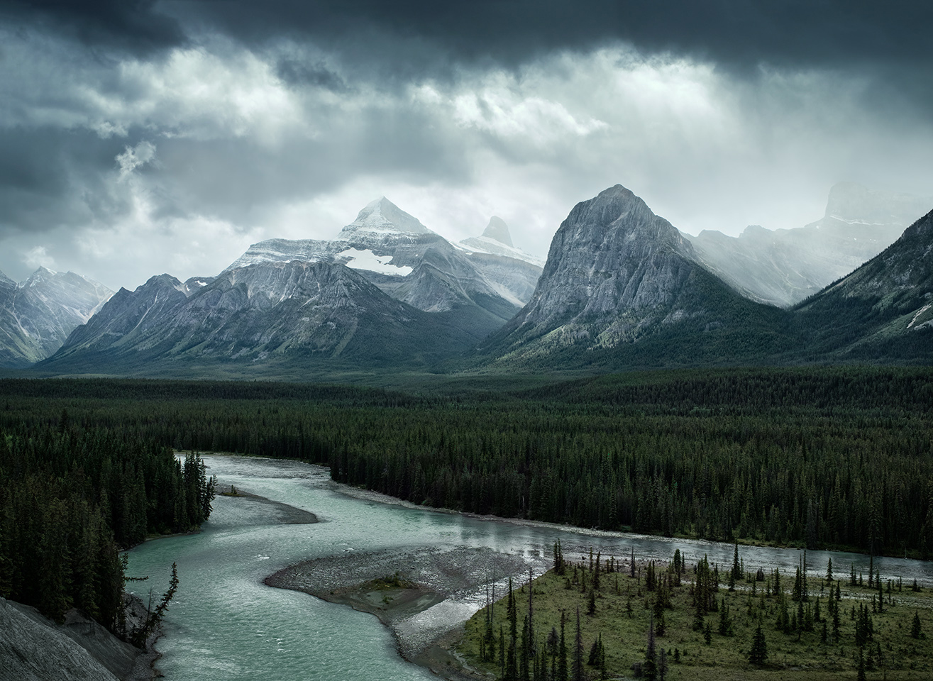 Approaching Storm, Athabasca River along the Canadian Rockies
