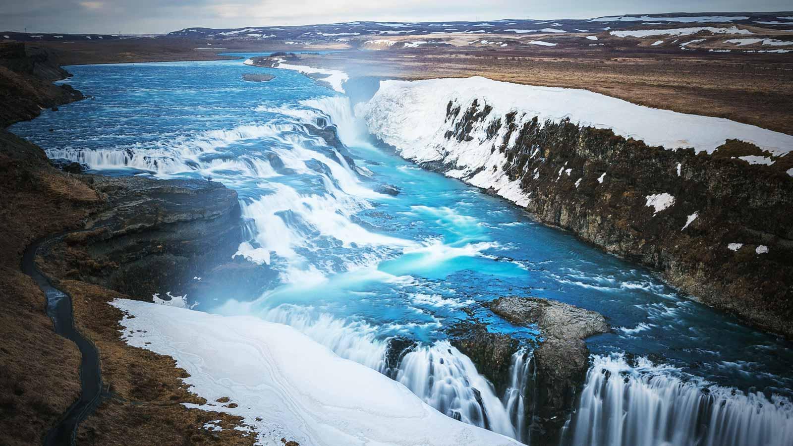 Gullfoss waterfall during wintertime in Iceland