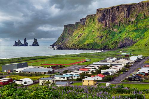 Reynisdrangar are basalt sea stacks situated under the mountain Reynisfjall near the village Vík í Mýrdal in southern Iceland