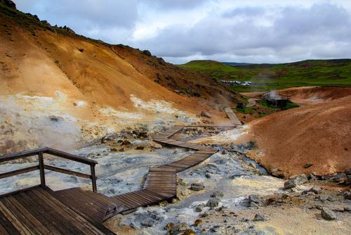 Mudpools at Krýsuvík geothermal area, Reykjanes, Iceland