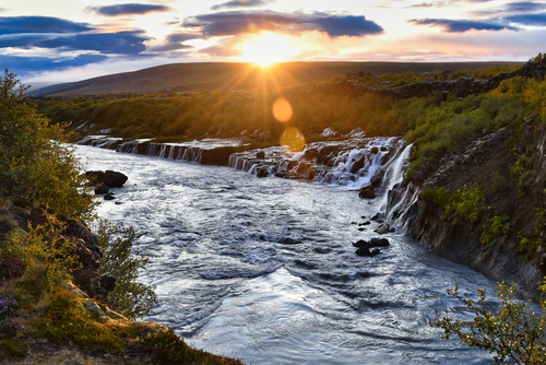 Sunset at Hraunfossar Lava Falls Iceland