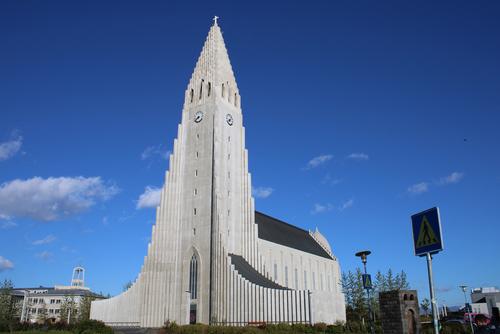 Hallgrímskirkja, tallest point in Rekyjavik, Iceland.