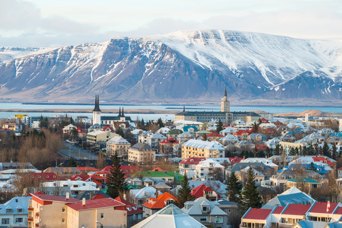 Scenery view of Reykjavik the capital city of Iceland in late winter season. Reykjavik is one of Europe's most dynamic and interesting cities.