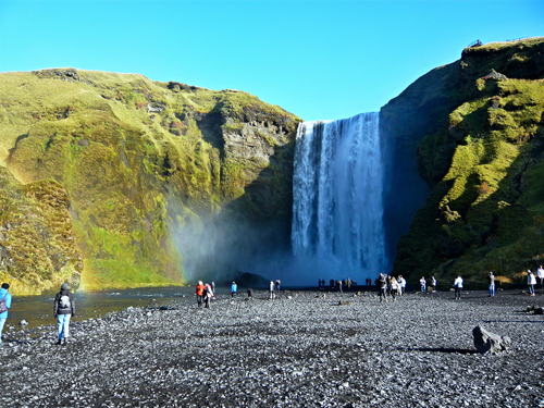 Iceland-view of Skógafoss waterfall and observation deck